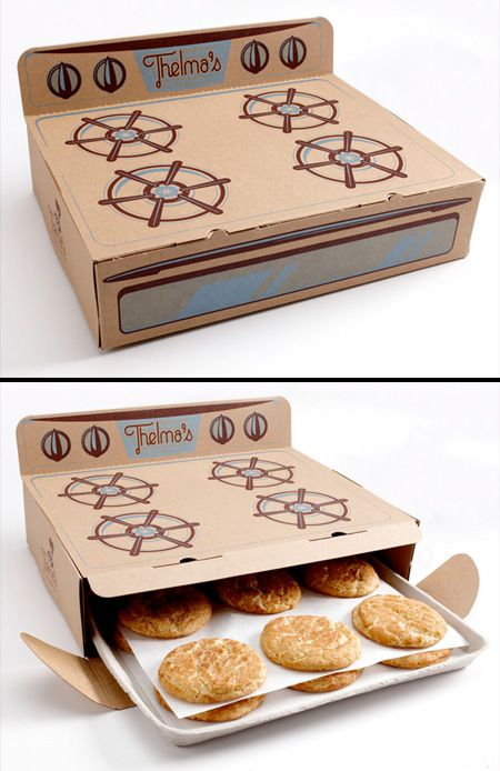 Mod 12 - Cookie Stove Packaging   Delicious cookies packaged inside of a cardboard stove. Brilliant packaging designed by Saturday Mfg for Thelma's Treats.