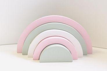 "Ciao Bambino Holz Rainbow Regenbogen rosa grau weiß   by Schmatzepuffer® Laser Gravur ""personalisiert"""