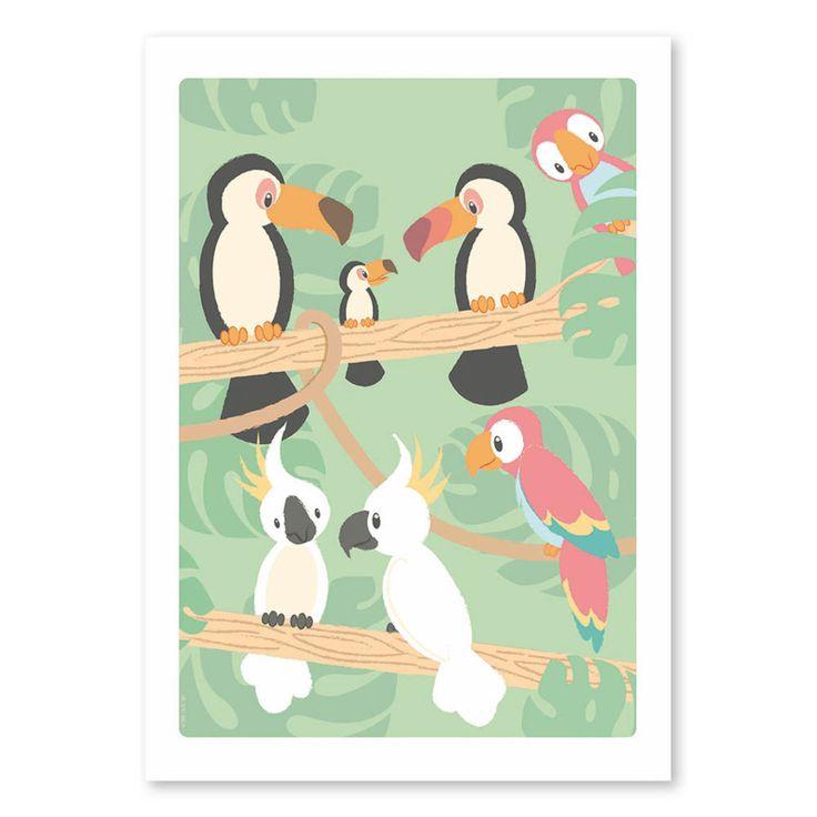 Poster Tropische vogels 50 x 70 cm Een kleurrijke blikvanger aan elke muur, helemaal in combinatie met de Jungle poster. Afmeting: 50 x 70 cm Materiaal: 170-grams mat papier