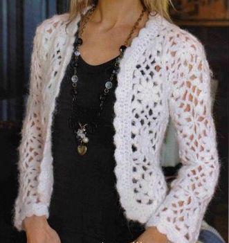 Navegando... he encontrado estos tres modelos de chaquetas a crochet, a cual mas precioso y ponible, mirad:               Este primero, es m...