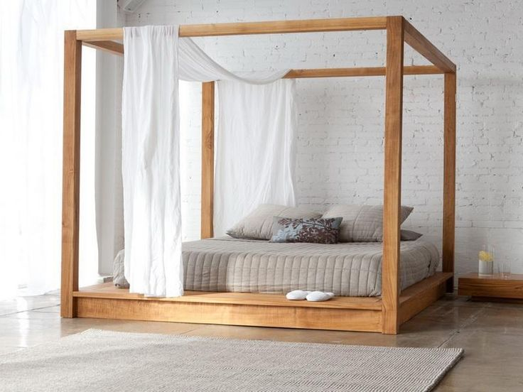 Unique Wooden Four Poster Bed with white furnishings -   for similar handmade Four Poster Beds - visit the Get Laid Beds Store @  http://www.getlaidbeds.co.uk/wooden-beds/four-poster-wooden-beds