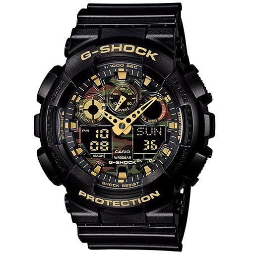 G-Shock GA100 Camo Dial Watch (Black/Gold) $108.95