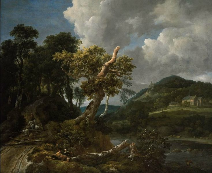 Jacob Isaacksz. van Ruisdael, Wooded River Landscape with Shepherd, about 1655–60. Oil on canvas. Rose-Marie and Eijk van Otterloo Collection.