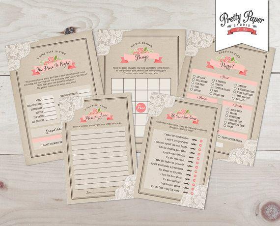 Bridal Shower Game Pack - Rustic Lace // INSTANT DOWNLOAD // Country Bridal Shower Kit // Blush Pink Coral // Digital Printable DIY ws02