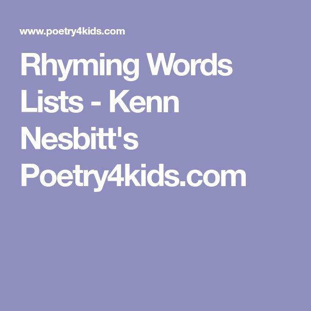 Rhyming Words Lists - Kenn Nesbitt's Poetry4kids.com
