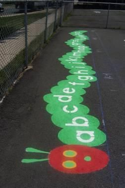 Hungry Caterpillar alphabet. Cute idea for Kindergarten area! {could also be done with paper!}