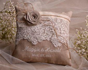 Pizzo nozze cuscino anello portatore cuscino di 4invitationwedding