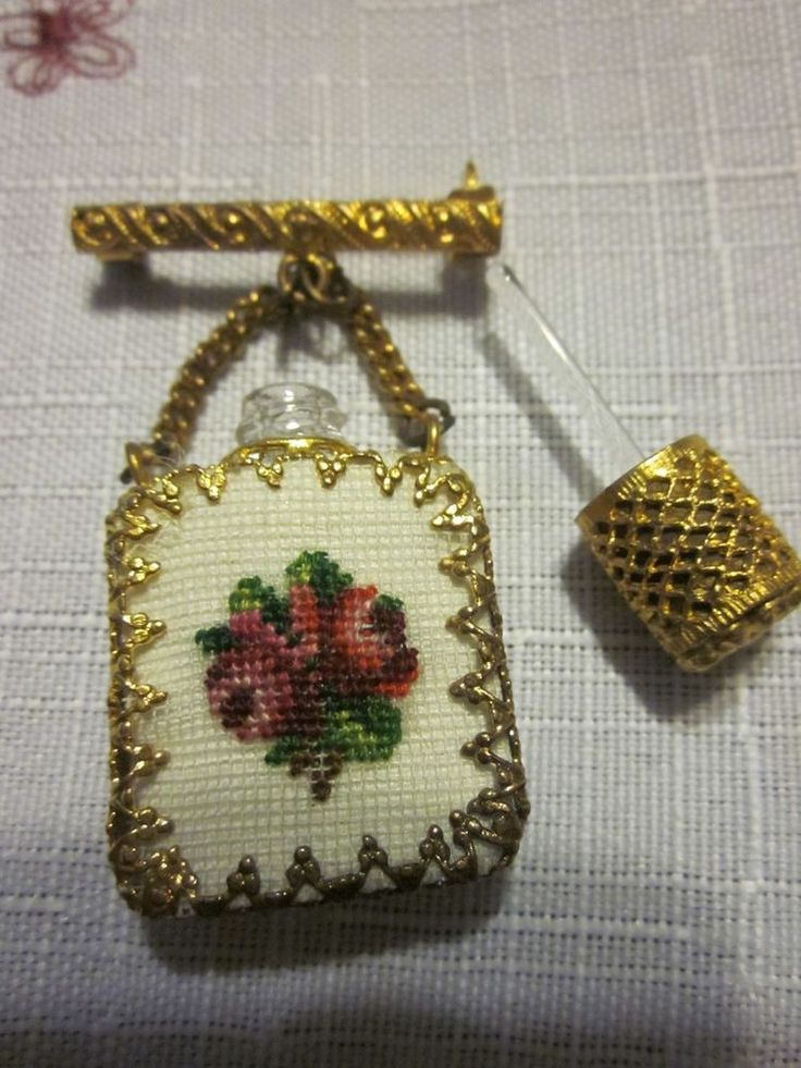 Vintage glass perfume bottle brooch .. petit point embroidery chatelaine jewelry