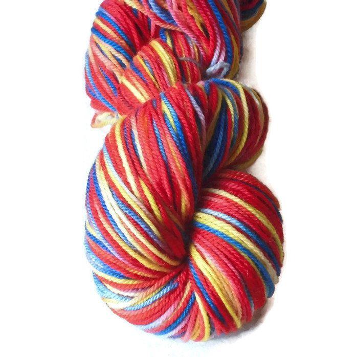 Red Blue Yellow Superwash Merino Yarn - Red Hand Dyed Yarn - Yellow DK Merino Yarn - Blue Double Knit 3 Ply Multi Colors - EU SELLER