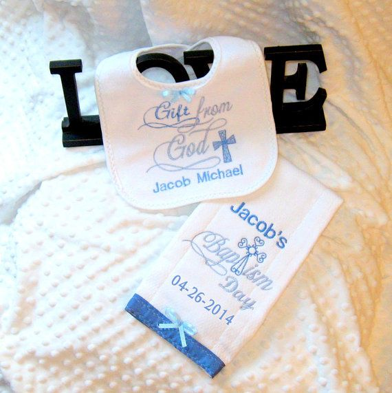 Personalized 2 Piece Baptism Gift Set Baby Boy Christening Bib And Burp Cloth Unique And Elegant Baptism Gift Pinterest Baptism Gifts Babies And Gift
