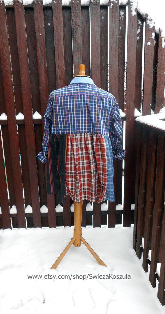 2X 3X Babydoll Tunic Dress Shirt Dresses by SwiezaKoszula on Etsy