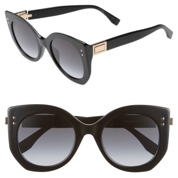 Women's Fendi 52Mm Butterfly Sunglasses (1,460 SAR) ❤ liked on Polyvore featuring accessories, eyewear, sunglasses, black, fendi glasses, fendi, butterfly sunglasses, thick sunglasses and studded sunglasses
