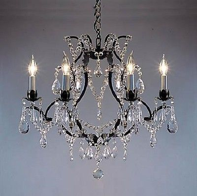 6-LIGHT-CRYSTAL-AND-BLACK-WROUGHT-IRON-CHANDELIER-FREE-SHIPPING