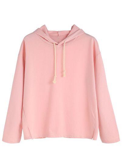 Sweat-shirt fendu avec capuche - rose