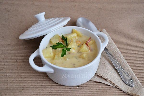 Sopa cremosa de papa hecha en cocotte lecreuset receta - Cocinar en cocotte ...