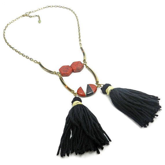 Tribal Tassel Statement Necklace in Red and Black Coral, Onxy Ethnic Bib Necklace With Tassels  by osofreejewellery