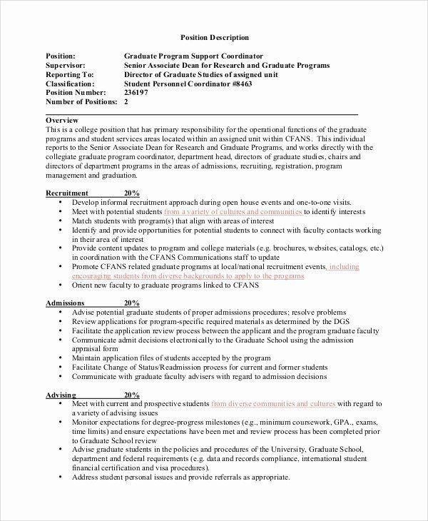 Director Of Admissions Resume Beautiful Sample Program Coordinator Job Description 9 Examples In 2020 Job Resume Samples Coordinator Job Job Description Template