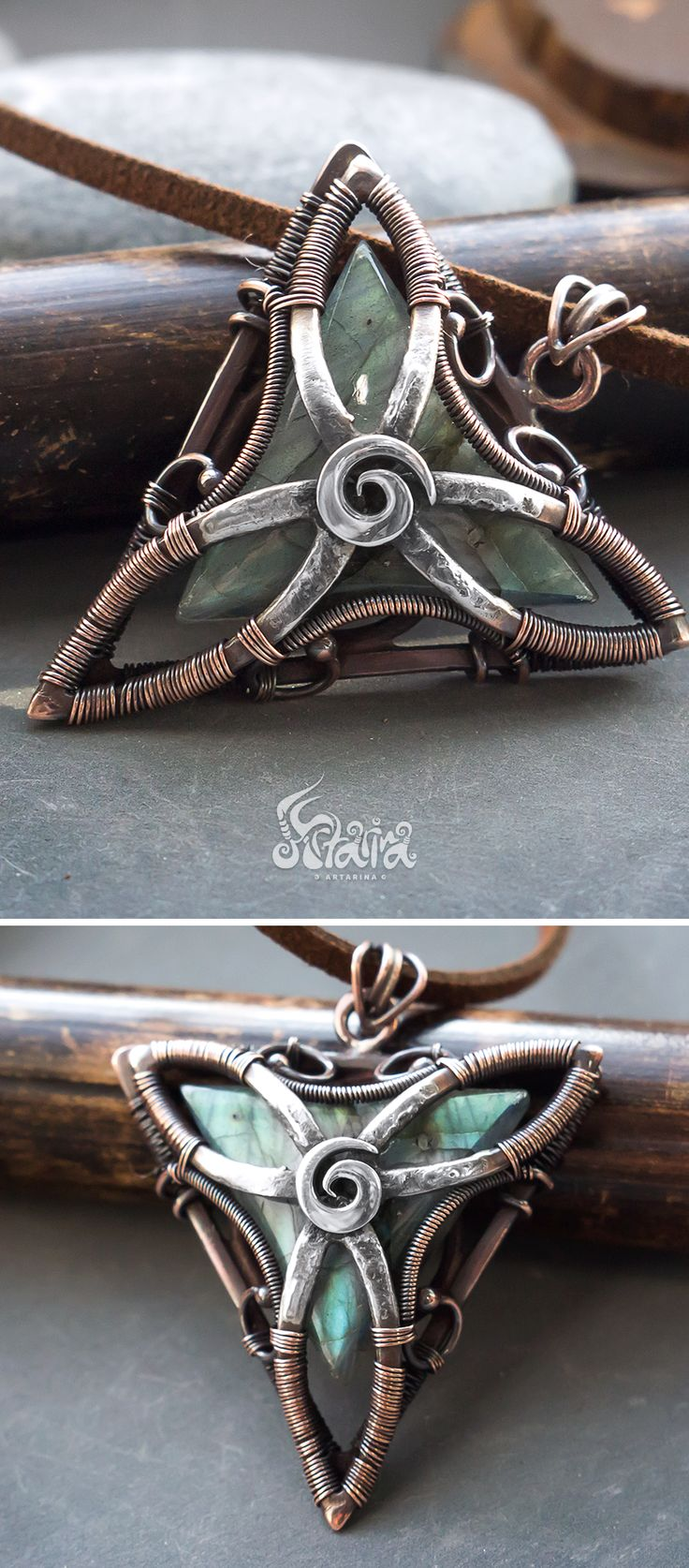 Triangle wire wrapped pendant // Copper and silver triangle pendant with labradorite // Rustic pagan triangle necklace // Natural pendant