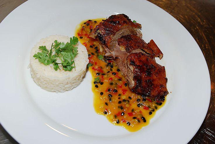 Einfach lecker: Tamarinden-Enten mit Passionsfruchtsauce und Reis. Rezepote demnächst auf sterne-kochklub-deutschland.de
