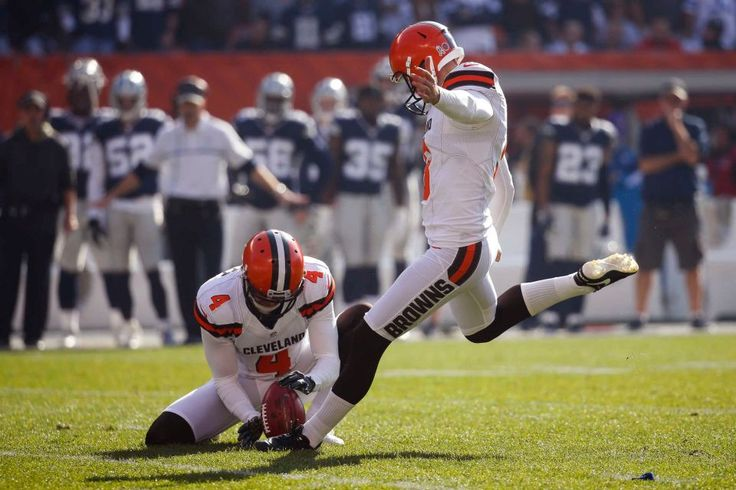 Cowboys vs. Browns:  35-10, Cowboys  -  November 6, 2016  -   Cleveland Browns kicker Cody Parkey, right, boots a field goal alongside punter Britton Colquitt (4) in the first half of an NFL football game  against the Dallas Cowboys, Sunday, Nov. 6, 2016, in Cleveland. (Credit: AP / Ron Schwane)