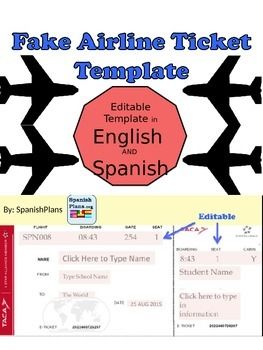 Print your very own airplane tickets for your students. This editable template includes an English version and a Spanish version.Enter your class information in the form of an airline ticket. Great for a geography or travel unit in elementary classes or for foreign language classes in high school teaching about culture.