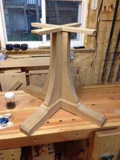 Mission Style Pedestal Table #3: Base to Top