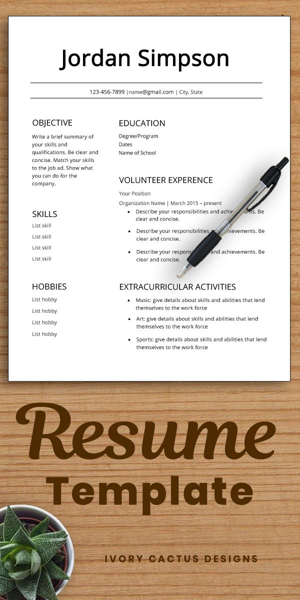 First Cv Template Resume Teenagers No Experience High School Student Resume One Page Resume Template Word Teens First Job Jordan Student Resume Template Student Resume Resume Examples