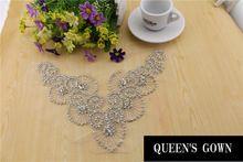2015 rhinestone decoration necklace beaded bridal trims bridal Sew on rhinestone Applique for wedding evening dresses(China (Mainland))