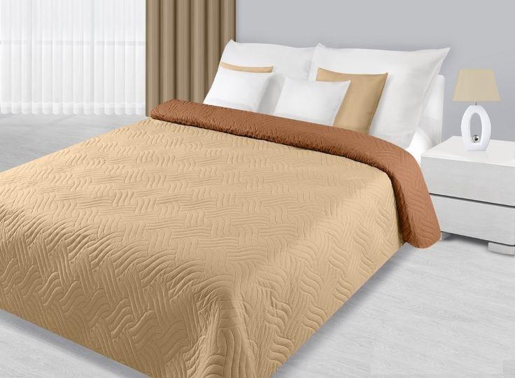 Prehozy na posteľ béžovo krémové s prešívaním