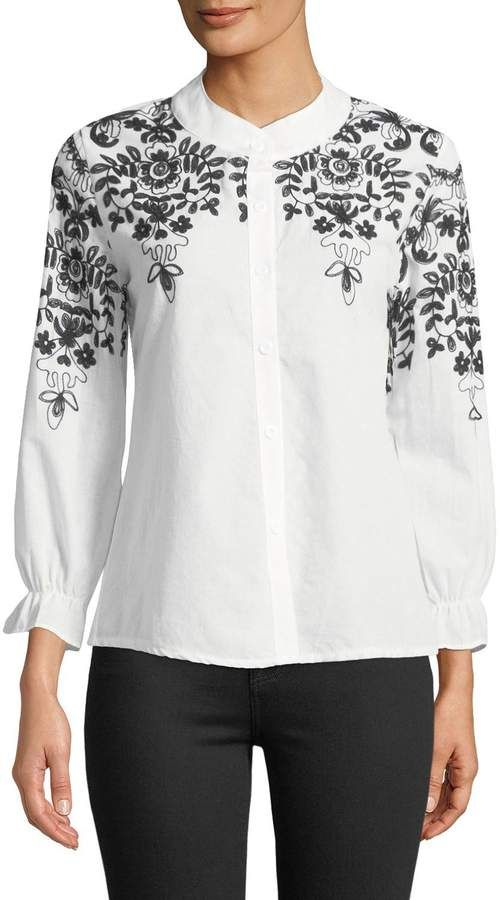 62f23f1a19f Haute Rogue Windy Embroidered Button-Front Blouse in color white and black  round neck long sleeve