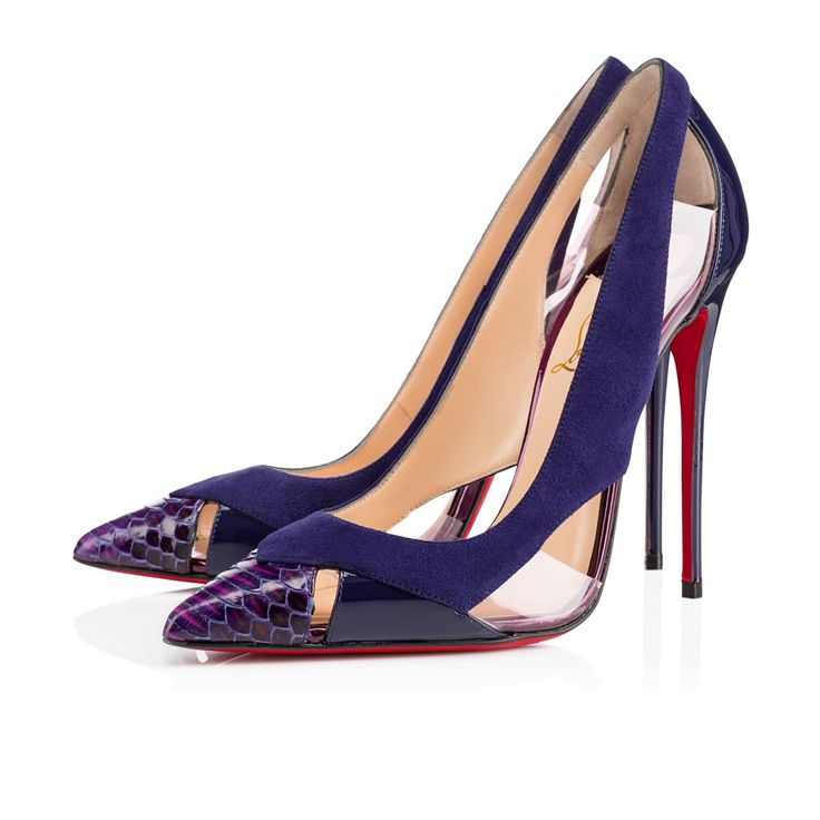 """""""Galata"""" plays peek-a-boo with unbeatable finesse. Her alluring cutouts expose the foot from both sides, giving her a very modern edge. With a pointed toe that's robed in gorgeous watersnake, she makes luxury a priority. This 120mm mixed-material stunner in eclipse will become the star of your red sole collection this season."""