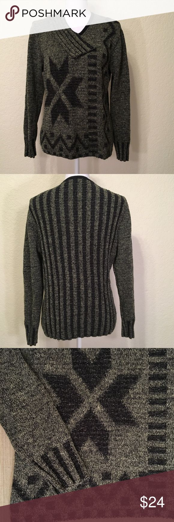 """Skovhuus Grey & Black Sweater Size L.  Excellent condition.  Star/stripe design.  Unique neckline.  Length shoulder to hem: 24"""".  Bust: 42"""".  Waist: 38"""".  Bottom of sweater: 40"""" around. Sleeve length: 24"""".  Cuff width: 3.5"""".  47% cotton, 34% acrylic, 19% nylon – some stretch.  Machine wash cold, line dry.  Love it but not the price - I'm open to (reasonable) offers or consider bundling 2 or more items for an additional 15% off and combined shipping!     Check out my reviews - I only sell…"""