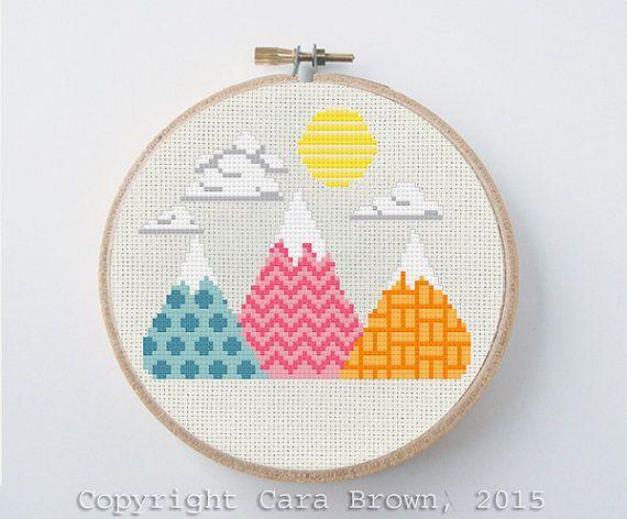 Mountain Cross Stitch Pattern Instant Download geometric needlepoint design mountain range sun clouds modern