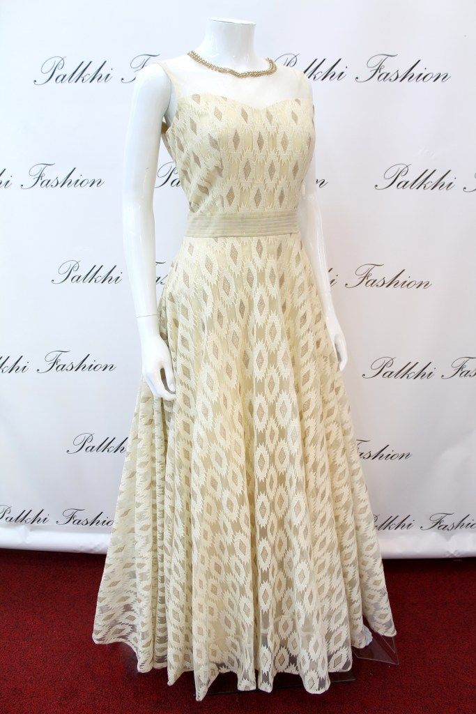 PalkhiFashion Exclusive Full Flair White Silk Hand Work Gown.