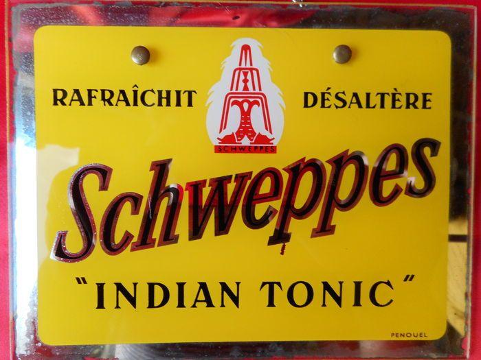 "Mooie Vintage Spiegel reclame _ "" SCHWEPPES Indian Tonic "" _ Ca 1975"