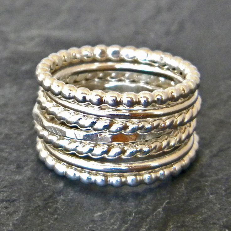 Size 8 - Sterling Silver Stacking Ring Set - Silver Hammered Ring -  Silver Thumb Rings - Twist Ring - Boho Stacking Rings - Womens Silver Ring Set by SerendipityHandcraft on Etsy https://www.etsy.com/listing/240727972/sterling-silver-stacking-ring-set-silver