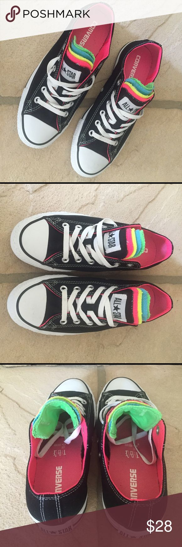 LADIES CONVERSE W/FIVE VARIOUS COLORED TONGUES Converse black low tops with 5 different color tongues (black, pink, neon yellow, blue & green). VGUC clean inside and out. No rips, stains or tears.  SMOKE FREE HOME Converse Shoes Athletic Shoes