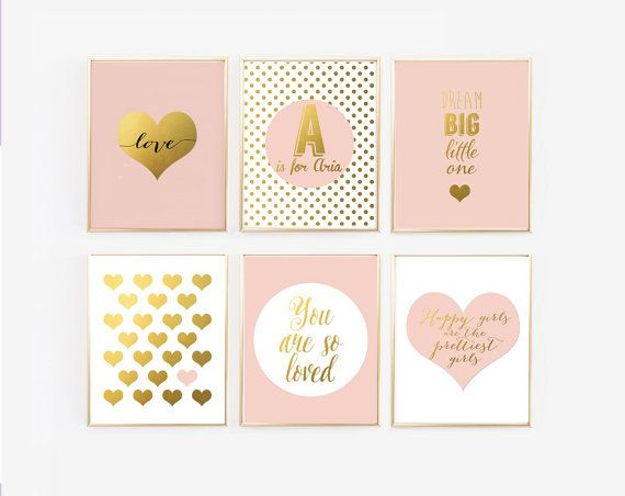 These six prints would be great for a little girls blush pink and gold nursery. Picked from some of my most popular prints along with a couple new prints, Ive created a complete gallery wall for your nursery. Perfect for your precious baby girl, this set includes such sayings as Dream big little one and You are so loved. There is also a customized print to include the babys name. This color combination of blush pink and gold is very popular right now but if you have a different color in…