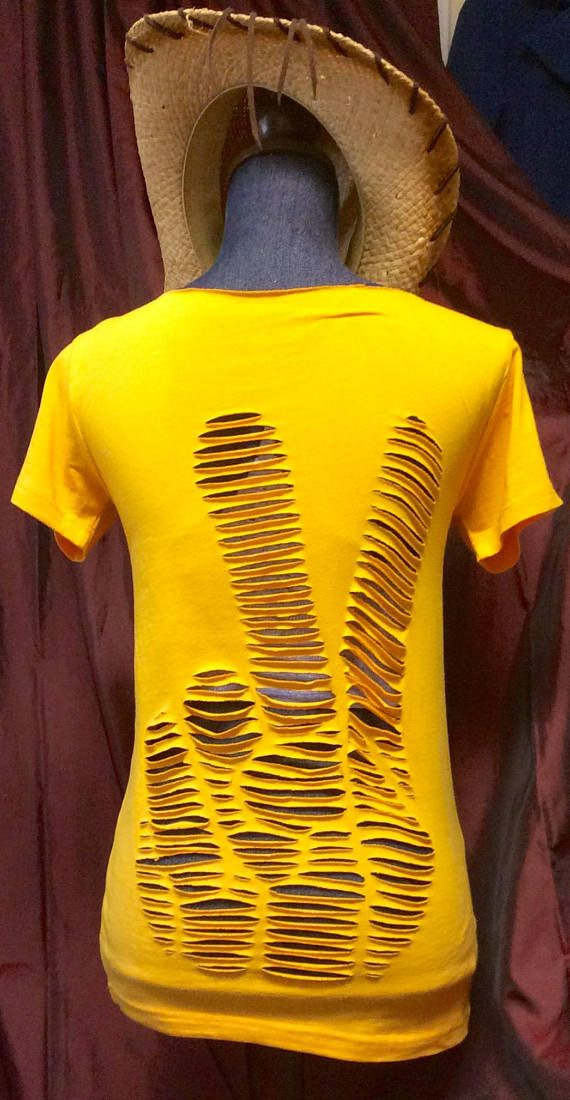 FREE SHIPPING Peace Fingers tee Cut up shredded refashion