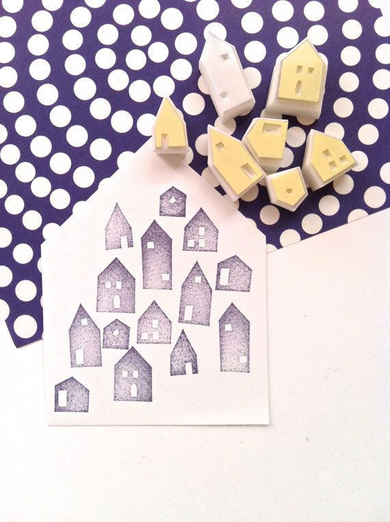 houses hand carved rubber stamp hand carved by talktothesun
