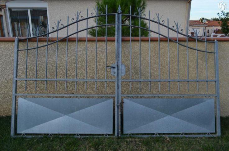 Urgent portail 2 vantaux galvanise + grilles