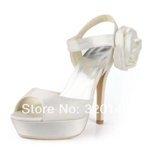 Кот Летние Сандалии с Боковой Цветок для Свадебного EP2063-PF Белый Peep Toe Платформы Высокие Каблуки Атласная Свадебное Вечернее Платье Обувь