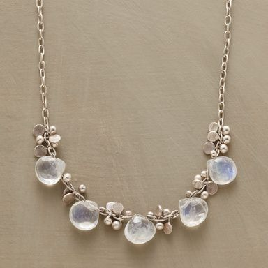 """LIGHT RAIN NECKLACE--Raindrops of moonstone and paillettes of hammered sterling glisten on a light sterling chain. Lobster clasp. Handmade in USA. 16""""L."""