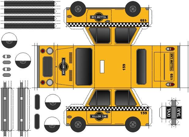 Easy-To-Build Yellow Cab Paper Model - by Papermau - Download Now! - == -  This is the Yellow Cab, an easy-to-build paper model in only one sheet of paper. Download easily, directly from Google Docs.