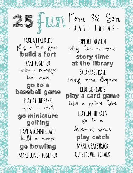 Blog post at Frugal Fanatic :  Mom and Son Date Ideas - Printable As a Mom of three boys I am constantly looking for fun mom and son date ideas. I constantly get asked [..]