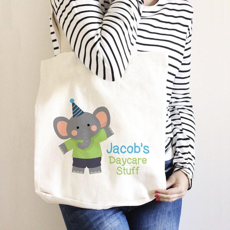 Personalized Daycare Bag - Elephant Diaper Bag - Custom Library Book Bag - Canvas Tote Bag