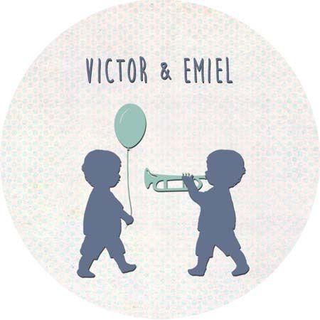 Geboortekaartje Victor en Emiel - sticker voor doopsuiker - Pimpelpluis - https://www.facebook.com/pages/Pimpelpluis/188675421305550?ref=hl (# jongen - tweeling - trompet - eendje - boom - gras - vogel - bolderkar - ballon - silhouet - lief - origineel)