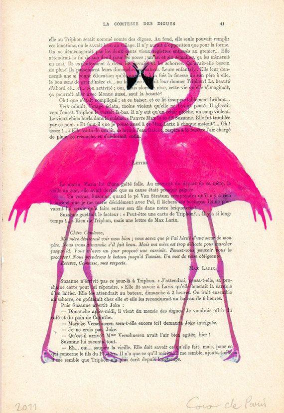 Mixed Media Animal painting Digital Illustration Print Art Poster Acrylic Drawing Illustration: Flamingo heart