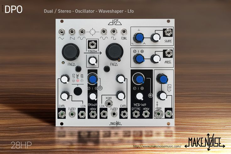 A dual Voltage Controlled Oscillator designed for generating complex waveforms. Expanding on the classic arrangement of Primary and Modulator Oscillators, the DPO has both of the VCOs operable as complex signal sources. It is in essence a Dual Primary Oscillator.
