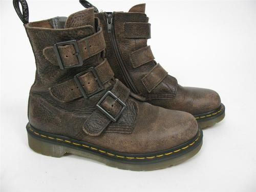 Doc Dr Martens Airwair Brown Leather Distressed Vintage Buckle Boots Shoes 6 | eBay
